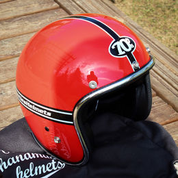 Red helmet with 70's stickers