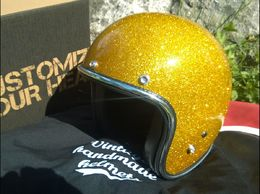 Open faced helmet with gold metalflake