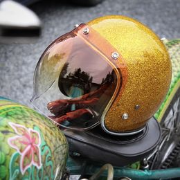 70's Helmets Gold Metalflake + Orange gradient Bubble visor