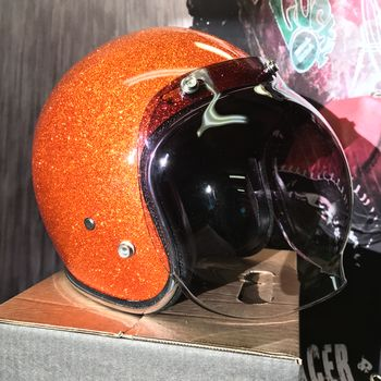 70's Helmets, Orange metalflake & Bubble visor
