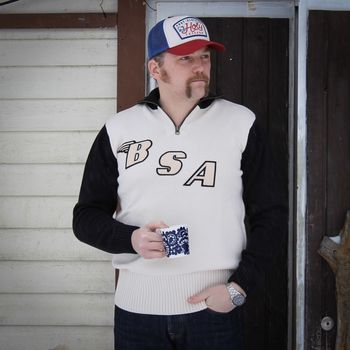 BSA Racing Sweater, White / Model wearing size XL