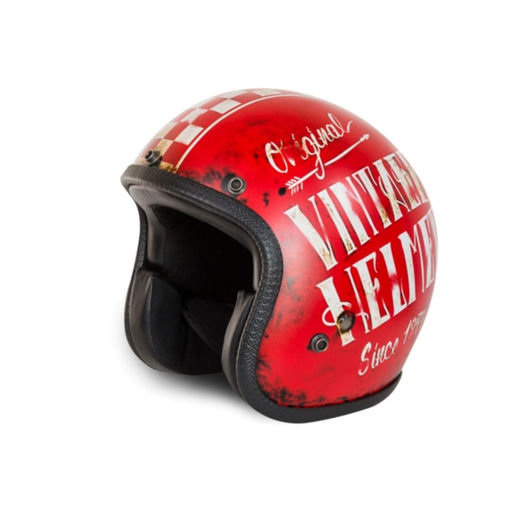 Red Vintage looking open faced helmet