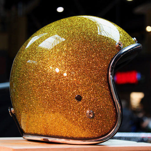 70's Helmets Gold Metalflake open faced helmet