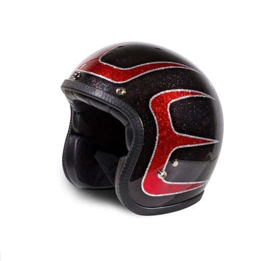 Hot rod scallops open faced helmet