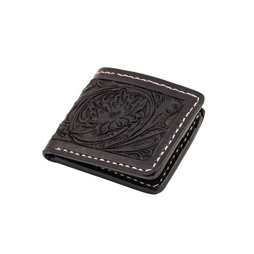 70's Engraved Black pocket wallet