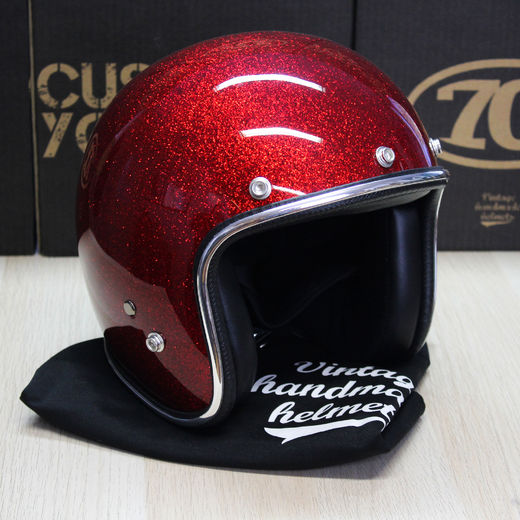 Red metalflake open face helmet