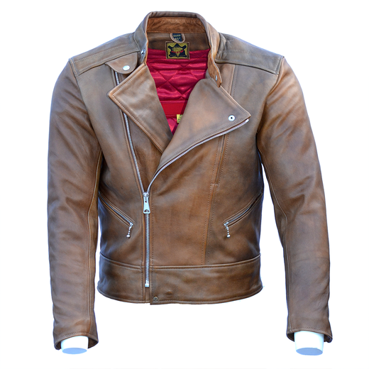 Goldtop '75 Lancer Leather Motorcycle Jacket - Waxed Brown